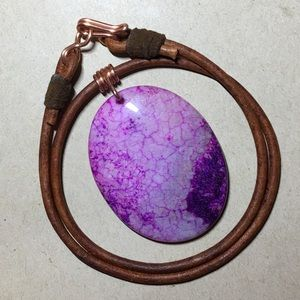 """💜💜💜16"""" Agate Leather Choker Necklace"""